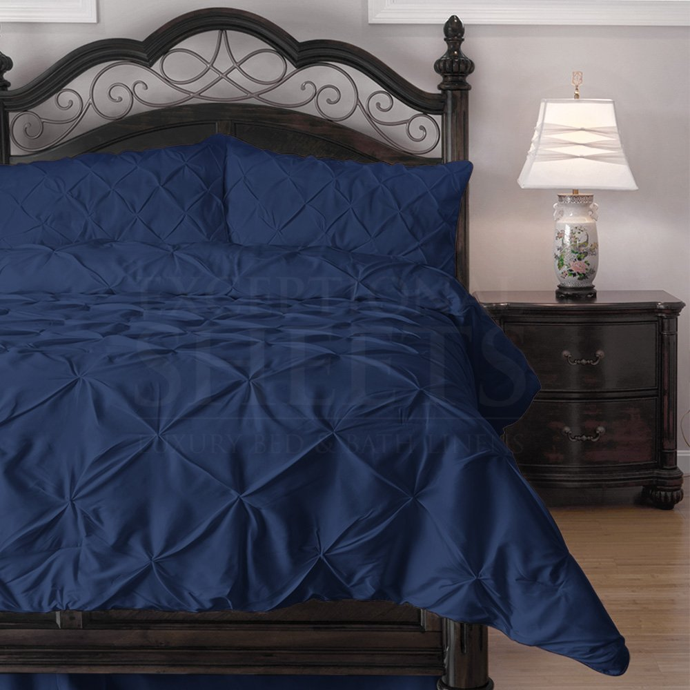 navy blue puckered bedding set buy