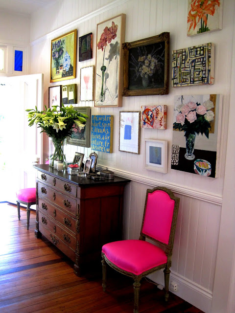 pink chair gallery wall