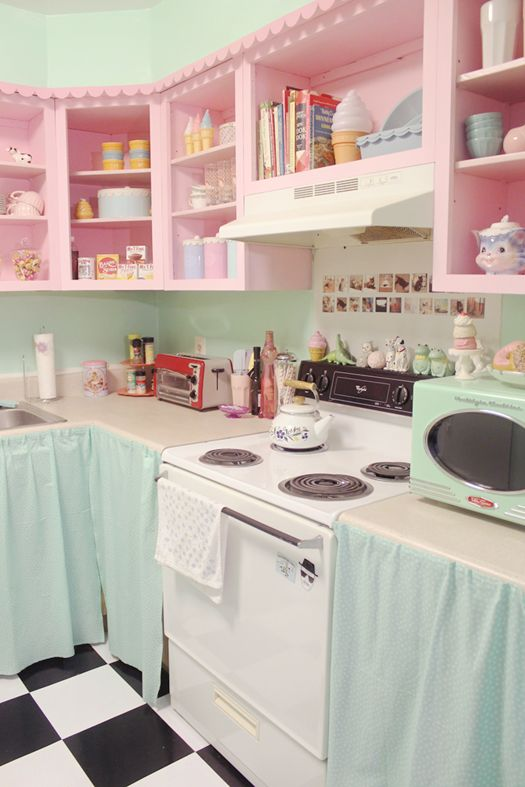 Top 5 vintage baby pink and mint green kitchen