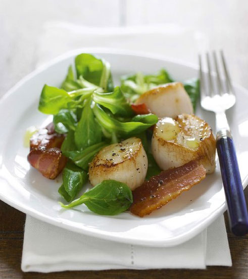 Scallop, Bacon and Lamb's Lettuce Salad