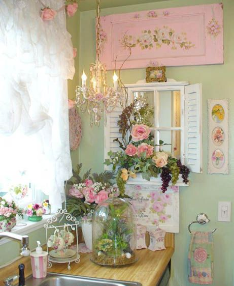 pink green vintage kitchen
