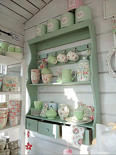 shabby chic country kitchen pink green