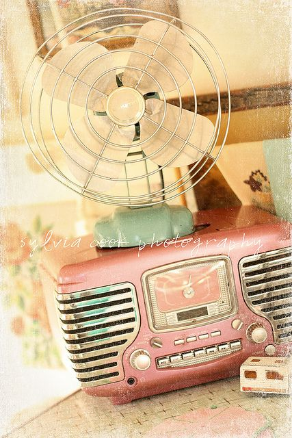 vintage radio and fan