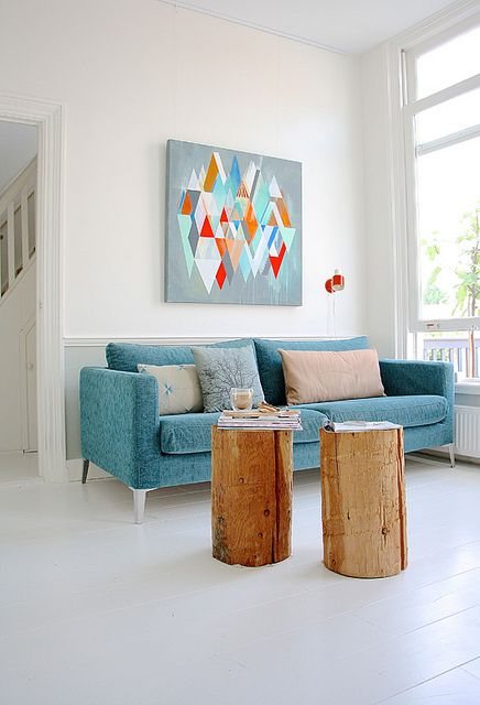 Living Room Decorating Ideas teal soaf modern art