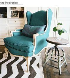 teal armchair