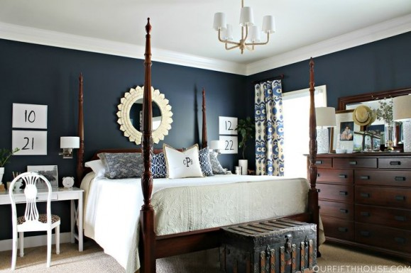 dark blue bedroom - photo #39