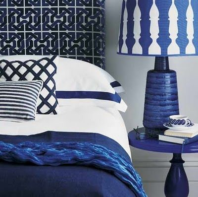 blue and white color scheme, YSL blue, bold graphic interior, blue bedroom
