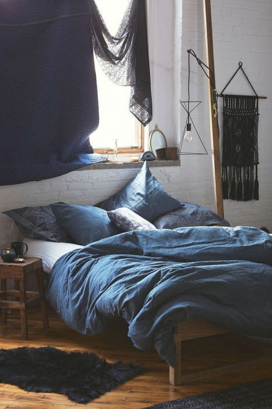 bohemian style bedroom in indigo