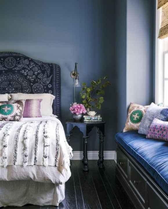 boho interior in indigo