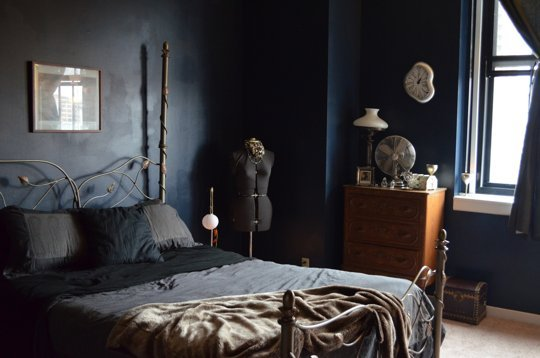 dark inky indigo bedroom