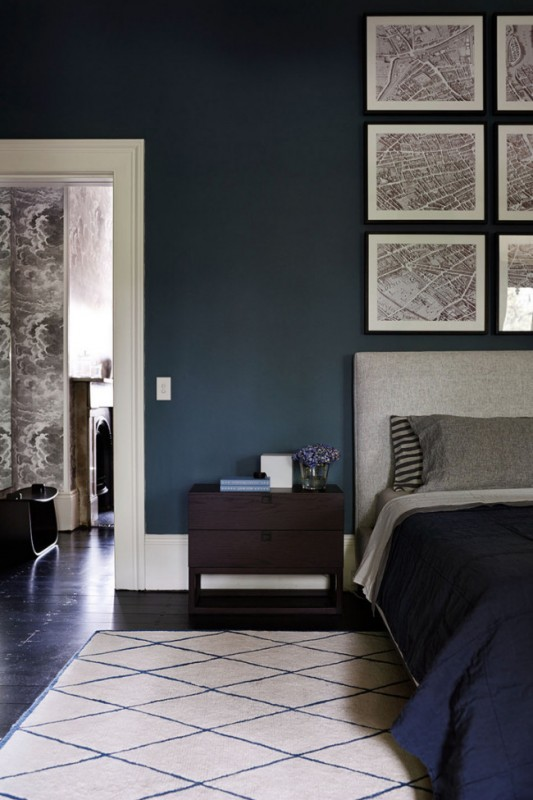model indigo blue bedroom