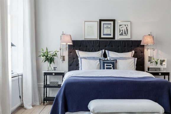 scandinavian bedroom in indigo