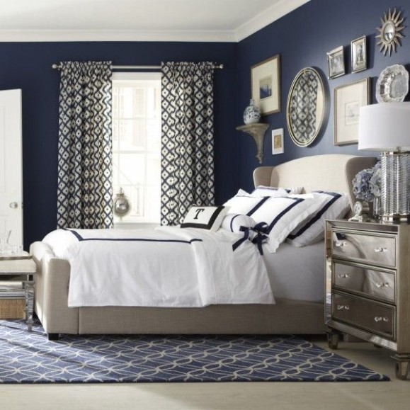 traditional bedroom in indigo blue