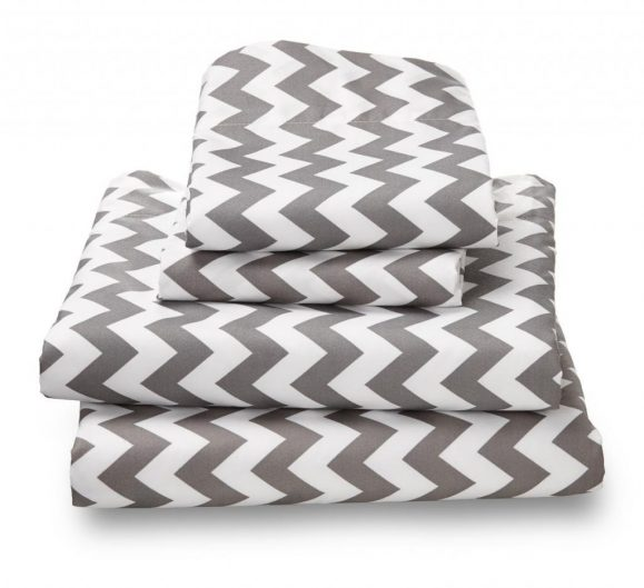 King Sheet Set Gray Chevron