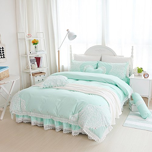 Sisbay Vintage Embroidery Lace Bedding Queen Mint Green