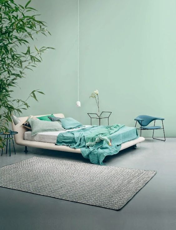 bedroom in mint and grey