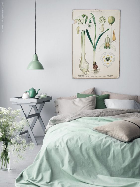 gray and mint bedroom