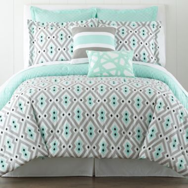 mint and gray bedroom 1
