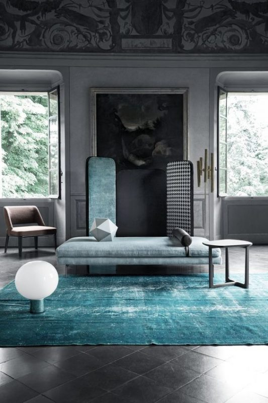 modern interior in turquoise and gray