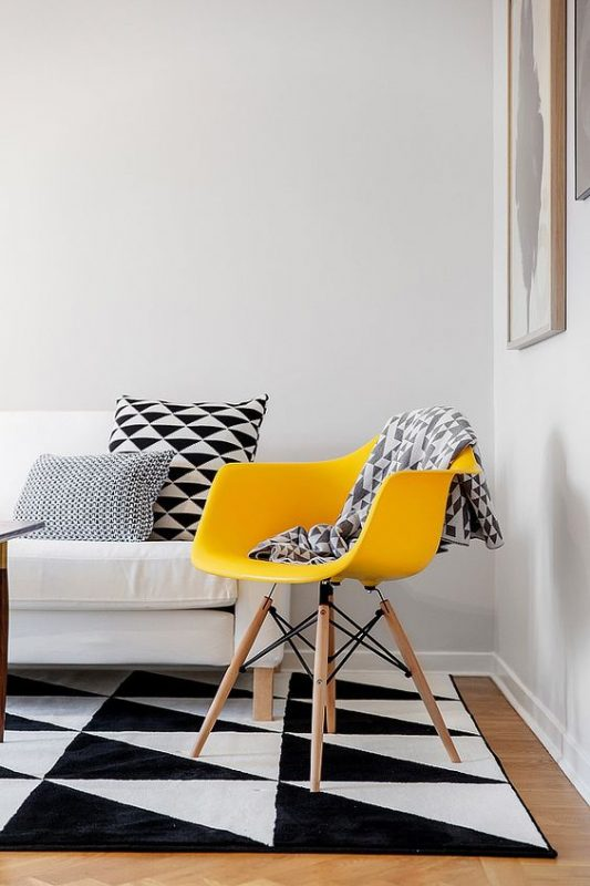 Modern black white and yellow interior color scheme