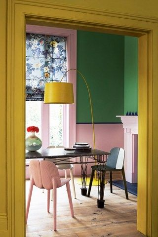 Pop interior in yellow with light pink and green